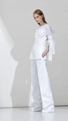 Contemporary Fashion - crisp white tailoring with clean lines & self-tied sleeve detail; simplicity // Aquilano Rimondi Resort 2017