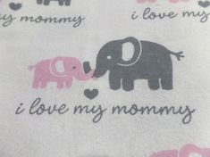 Elephant Receiving Blanket - I Love Mommy Swaddle Blanket - Pink and Grey Baby Flannel Blanket - Baby Photo Prop - Baby Bedding