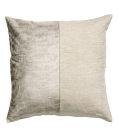 Cushion cover in washed linen with a printed metallic design at front | H&M Home