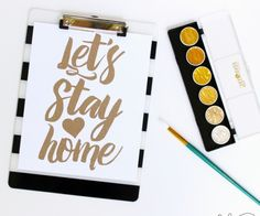 Let's Stay Home Free SVG Cut File | Create all kinds of fun projects with this free cut file + dozens of other vinyl project ideas! | bydawnnicole.com