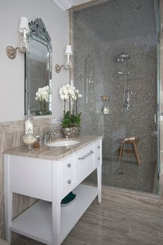 Bathroom Tiling Ideas. Floor and wall tile is a marble called Kara kaki. The shower tile is a glass tile by Sicis. The plumbing fixtures are manufactured by Perrin & Rowe. #Bathroom #Tiles