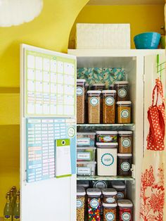 If only my pantry looked like this...  A pantry that packs a punch. Keep food organized by assigning a shelf to each group (grains, baking ingredients, snacks, etc.). Line shelves with laminated fabric -- it's easy to clean and adds a splash of bright color. Use clear plastic containers to store your pantry goods and add an adhesive label to each container for an extra measure of organization.