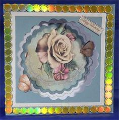Butterfly Rose. 8 x 8 decoupaged card. Available from: www.therhodaharveycollection.co.uk