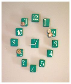 Antiqued Emerald Wood Wall Clock ~from On Her Own @ www.etsy.com/shop/HerVeryOwn