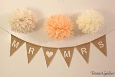Mr. & Mrs  Burlap Banner - Wedding Decor - Ceremony - Wedding - Banner - Burlap Bunting - Wedding Garland