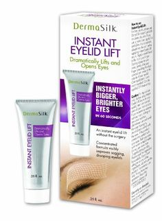 Dermasilk Instant Eyelid Lift, 0.25 Fluid Ounce by DermaSilk. $10.14. Instantly bigger, brighter eyes in 60 seconds. An instant eyelid lift without the surgery. Concentrated formula visibly improves sagging, drooping eyelids. Instant eye lid lift gives your eyelid that little lift that that you are looking for. Gives instantly bigger, brighter eyes in 60 seconds. An instant eyelid lift without the surgery. Concentrated formula visibly improves sagging, drooping eyelids.