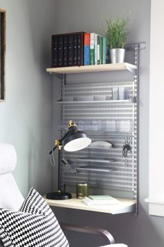 Maximize space by using these vertical storage solutions in your house! You'll be organized before you know it! Elfa Shelving, Metal Shelving Units, Shelves, Office Shelving, Office Interior Design, Office Interiors, Masculine Home Offices, White Pantry, Be Organized