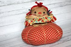 Pin Cushion Annie  Primitive Raggedy Ann Doll by HeartstringAnnie, $27.00