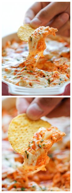 Buffalo Chicken Dip - Buffalo chicken wings turned into the easiest, creamiest, and cheesiest dip ever! Perfect for game day!