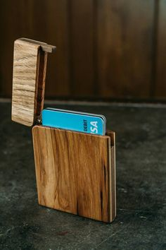 Hickory wallet wooden wallet card holder by DouglasEWoodcrafting