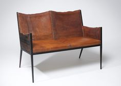 Jean Michel Frank, iron-and-leather settee.Treppen Stairs Escaleras by www.smg-treppen.de #smgtreppen Follow us on Facebook https://www.facebook.com/pages/SMG-Treppen/418970301485994