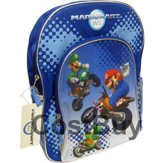 "Nintendo Super Mario Bros. Wii Large School Backpack Bag - Full Size Backpack by Nintendo. $16.50. a small handle on top,. big pocket on the front, padded double straps on the back,. approx 16""x12"". Brand new, licensed item. new"