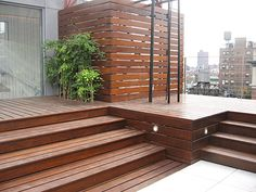 Multi-level deck; like the use of horizontal slats for the side