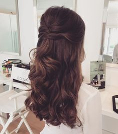 Wedding hairstyles half up half down, with veil, with flowers bridal hair, long . Wedding hairstyles half up hal. Half Up Half Down Hair Prom, Wedding Hairstyles Half Up Half Down, Wedding Hair Down, Wedding Bride, Hairdo Half Up, Bridal Hair Half Up With Veil, Wedding Rings, Half Updo, Wedding Bouquet
