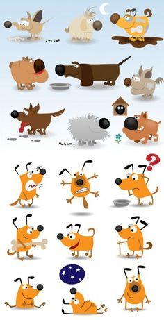 Cute cartoon dog vector material