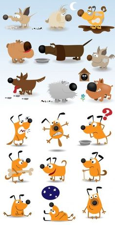Cute cartoon dog vector material
