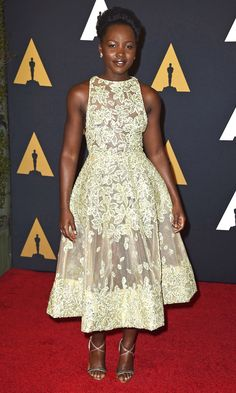 Lupita Nyong'o in a cream Elie Saab couture dress