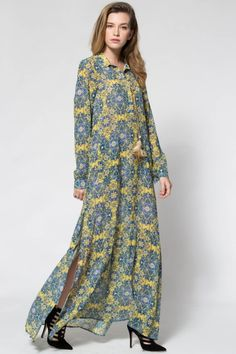 Yellow Print Plunging Neck Long Sleeve Maxi Dress YELLOW: Maxi Dresses | ZAFUL