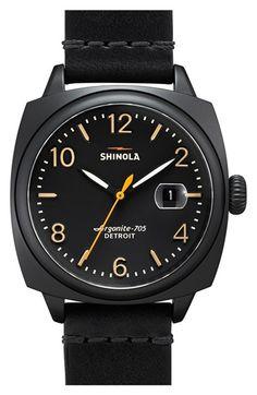 Men's Shinola 'The Brakeman' Leather Strap Watch
