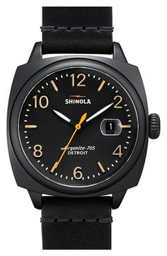 Men's Shinola 'The Brakeman' Leather Strap Watch