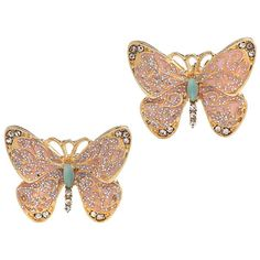 Glitter Butterfly Studs (180 ARS) ❤ liked on Polyvore featuring jewelry, earrings, accessories, butterflies, jewellery by diva, women's jewellery, monarch butterfly earrings, rhinestone earrings, pink rhinestone jewelry and earring jewelry