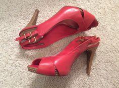 Antonio Melani Red Leather Slingback Heels Size 7.5 #AntonioMelani #Slingbacks