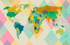 Modern World  Map VI. Large Canvas Art . Large Wall by irenaorlov