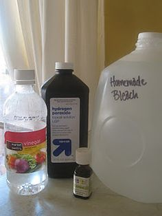 Homemade Bleach: 1 1/2 C 3% hydrogen peroxide, 1/2 C white vinegar or lemon juice, Pure water to fill gallon jug, 10 drops lemon or lemongrass essential oils (optional/omit if using lemon juice)
