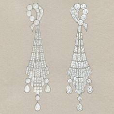 Elegant Earrings by Tiffany: A sketch for Art Deco-inspired diamond earrings | www.cutewomensgifts.com