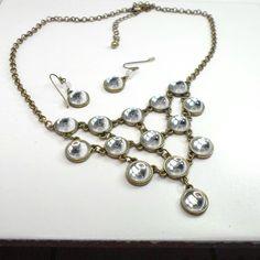 Bib necklace pierced earrings mirror cabochons brass bezels chain 17 1/2 to 20  #unbranded