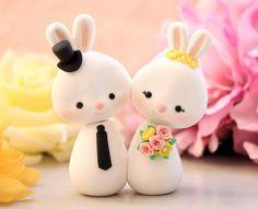 Cute wedding cake topper Bunnies by PassionArte, via Flickr