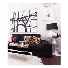 I am loving this living room color scheme. #Repost @dressyourhome  ・・・  Black + white. Love ❤️ {