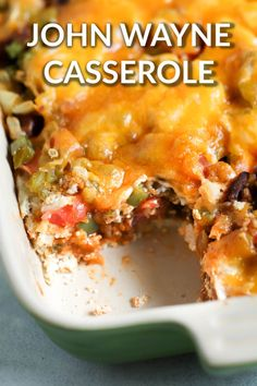 John Wayne Casserole (Beef and Biscuit Casserole) - - John Wayne casserole (beef and biscuits casserole), is one of a kind with its taco ingredients and biscuit mix. You do NOT want to pass this up. Beef Recipes For Dinner, Mexican Food Recipes, Cooking Recipes, Supper Recipes, Chicken Recipes, Ethnic Recipes, Beef Casserole Recipes, Casserole Dishes, Hamburger Meat Casseroles
