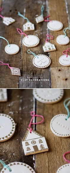 14 Christmas Decorations You Won't Believe are Handmade, DIY and Crafts, shaped clay decorations with stamped phrases and gold pen detailing. Clay Christmas Decorations, Christmas Clay, Christmas Makes, Diy Christmas Ornaments, Homemade Christmas, Christmas Projects, Holiday Crafts, Christmas Holidays, Diy Christmas Tree Decorations