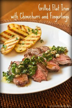 Panini-Grilled Flat Iron Steak with Chimichurri and Fingerling Potatoes ...get the #recipe at www.paninihappy.com (c) Kathy Strahs