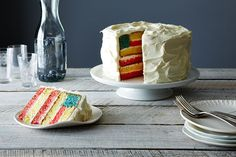 American Flag Cake - but I think I would use (or make) white cake mix instead of the yellow. It would look prettier.