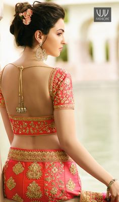 Salmon pink lehenga choli with dupatta. To complete the look matching choli and dupatta is available with this product. Beautiful Girl Photo, Beautiful Girl Indian, Most Beautiful Indian Actress, Beautiful Saree, Pink Bridal Lehenga, Saree Backless, Beauty Full Girl, Beauty Women, Sari Blouse Designs