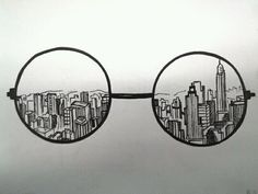 Doodle art 554857616587220660 - Creative Drawing Ideas, keep the round glasses and instead of skyscrapers but in Hogwarts Source by Doodle Drawings, Cute Drawings, Drawing Sketches, Sketching, Hipster Drawings, Drawing Tips, Cool Drawings Tumblr, Drawing Techniques, Art Drawings Easy