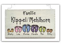 Schiefer Türschild Namensschild Fußabdruck Familie