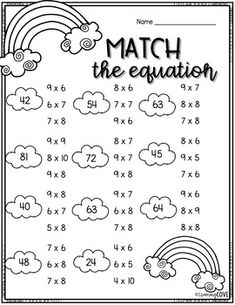 Multiplication Spring Worksheets - 25 Print and Go! by Learning Cove Math Multiplication Worksheets, Maths, Word Puzzles For Kids, Repeated Addition, Math Charts, 3rd Grade Math, Third Grade, Kids Study, Math Books