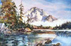 """""""Mt Moran - Morning Glory"""" Artist - Gayle Weisfield Original Watercolor x Beautiful landscape painting of Mount Moran from the lake view with a moose in the foreground. Watercolor Paintings For Sale, Watercolor Scenery, Beautiful Landscape Paintings, Lake View, Art Market, Fine Art, Mountains, Jackson Hole, Moose"""