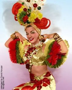 "Carmen Miranda - The Brazilian singer/comedienne/dancer known as ""The Lady with the Tutti Fruitti Hat"". Hooray For Hollywood, Hollywood Stars, Classic Hollywood, Old Hollywood, Hollywood Glamour, Carmen Miranda Costume, Havana Nights, Fancy Dress, Movie Stars"
