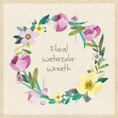 Floral watercolor wreath Free Vector