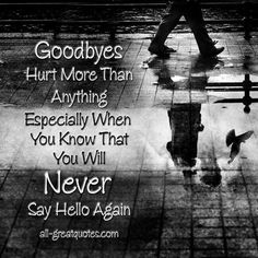 .Goodbyes hurt more than anything. especially when you know you will never say hello again