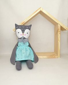 Owl soft toy with removable outfit. Unique owl toy & decoration.  Extremely soft