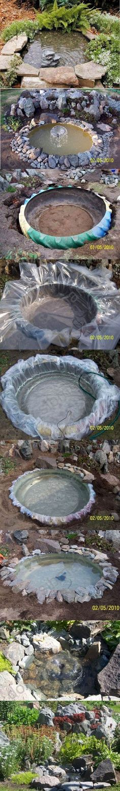 You're own backyard pond out of an old tire
