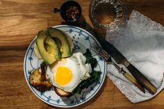 Marinated Mushroom Sandwich with Sautéed Greens + Avocado + Egg