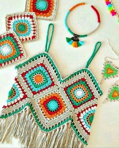 """The location where building and construction meets style, beaded crochet is the act of using beads to decorate crocheted products. """"Crochet"""" is derived fro Crochet Halter Tops, Bikini Crochet, Pull Crochet, Gilet Crochet, Crochet Summer Tops, Crochet Jacket, Crochet Shawl, Crochet Motif, Crochet Patterns"""