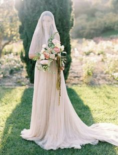 {Soft & Romantic Bridal Portrait ~~ Bride Wears A Blush Wedding Gown Of Silk Tulle, Wears A Silk Drop Veil, & Carries A Lovely Bouquet With Ivory, Cream, Blush, & Pink Florals + Several Varieties Of Greenery/Foliage, Hand Tied With Olive Green Silk Ribbons·······································}