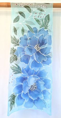 This is a large hand painted silk scarf with breathtaking beautiful Japanese blue peony design. Gorgeous pearl white drawing barely contains the expressive, emotional painting of the flowers. Beautiful blue hued flowers are punctuated by dark green leaves with wind red berries. Hand Painted Sarees, Hand Painted Fabric, Painted Silk, Saree Painting, Fabric Painting, Fabric Paint Designs, Blue Peonies, Silk Art, Chiffon Scarf